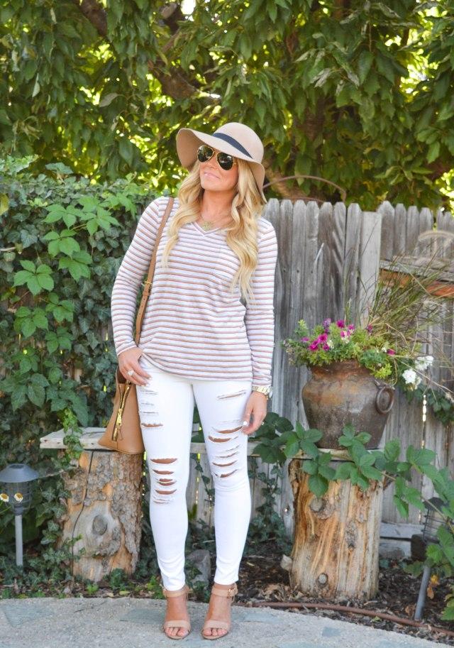 fall fashion, stripes, fashion blog, tory burch bag, nude heels, stripe shirt, cabi clothing, cabi
