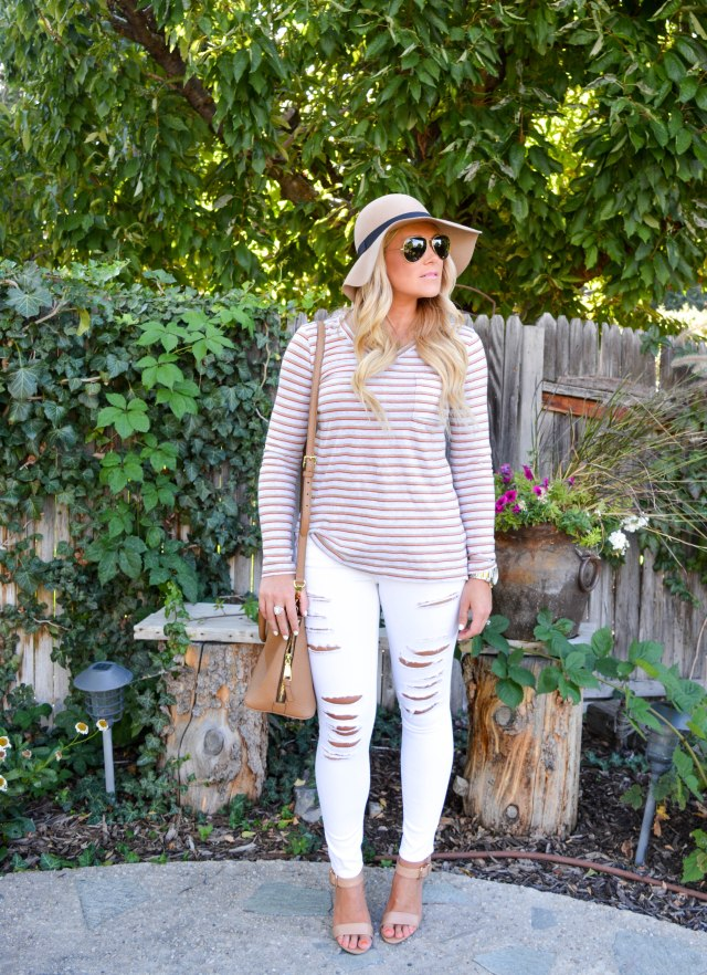 fall fashion, stripe shirt, tory burch bag, cabi, cabi clothing