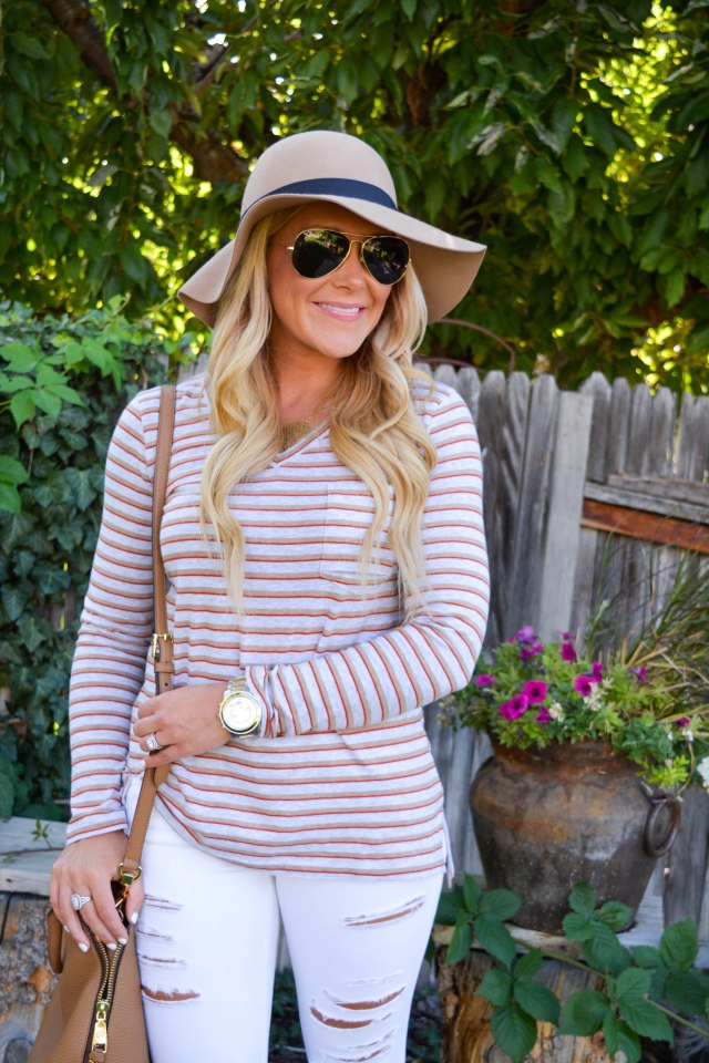 stripes, stripe shirt, cabi clothing, cabi, tory burch bag, tory burch robinson