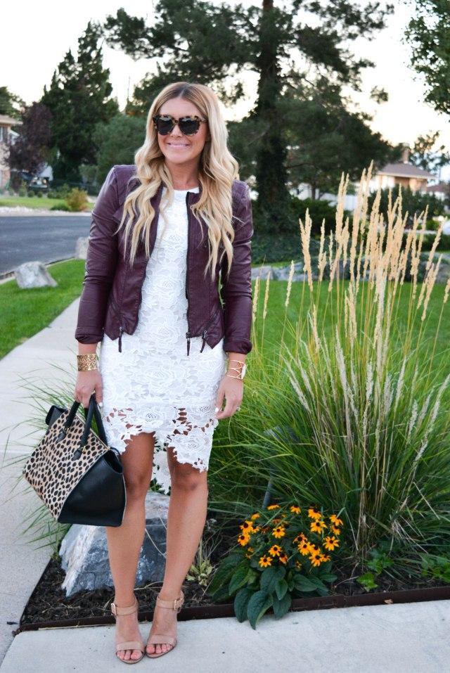 fall fashion, lace dress, leather jacket, karen walker sunglasses