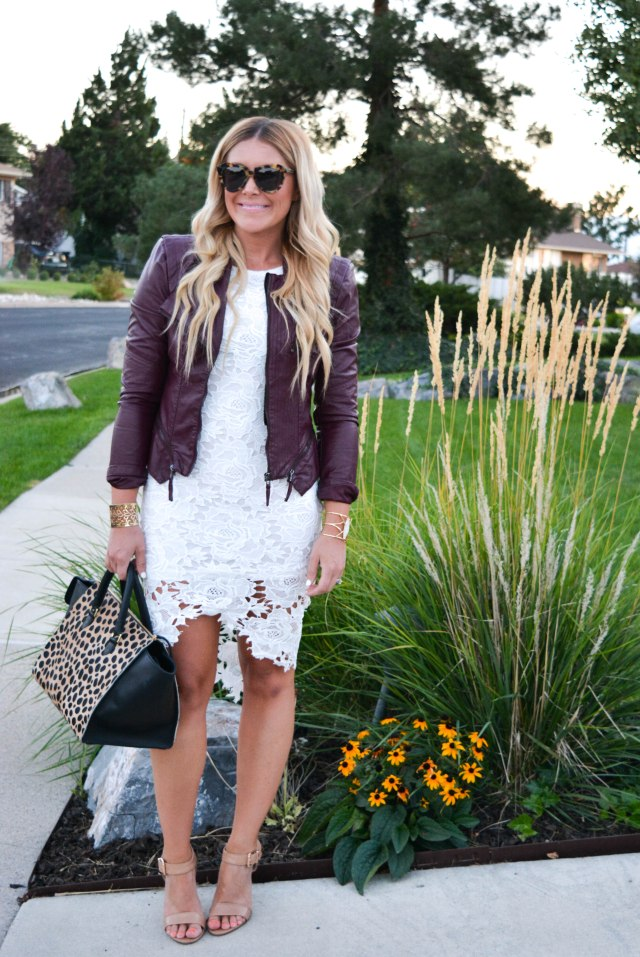 fall fashion, lace dress, leather jacket, karen walker sunglasses