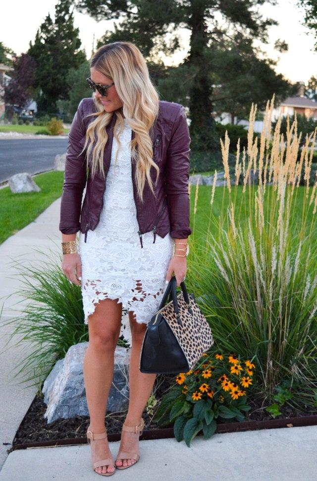 transitional fashion, leopard bag, karen walker sunglasses, nude heels, white lace dress