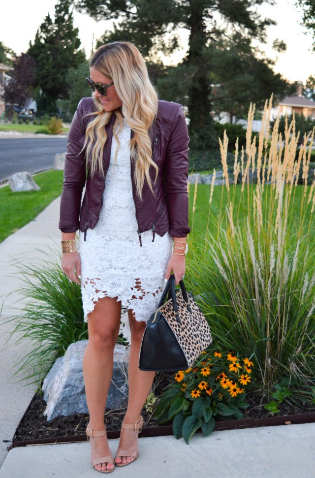 transitional fashion, leopard bag, karen walker sunglasses, nude heels, white lace dress