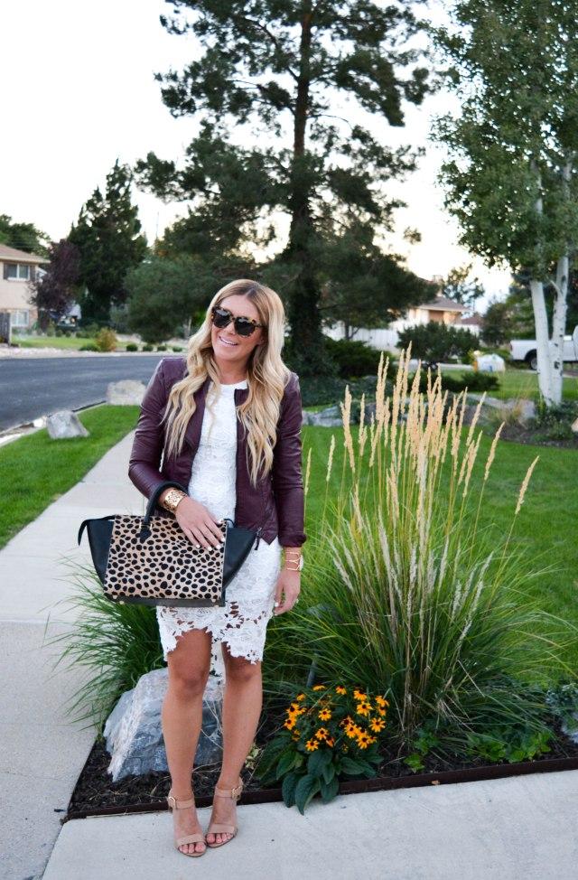lace dress, leather jacket, fall fashion, leopard bag