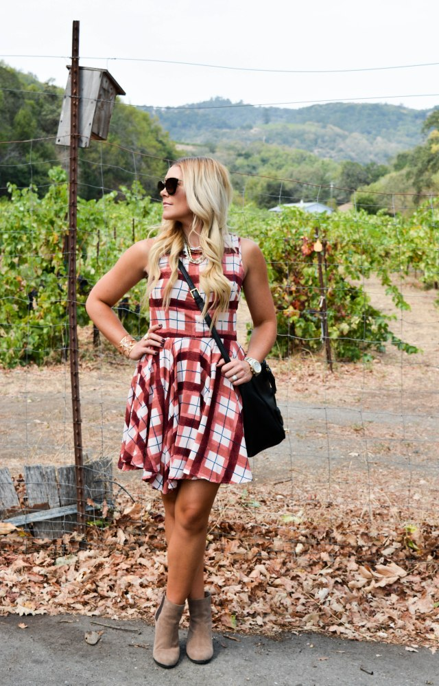 vince camuto booties, fall fashion, plaid dress, tory burch bag