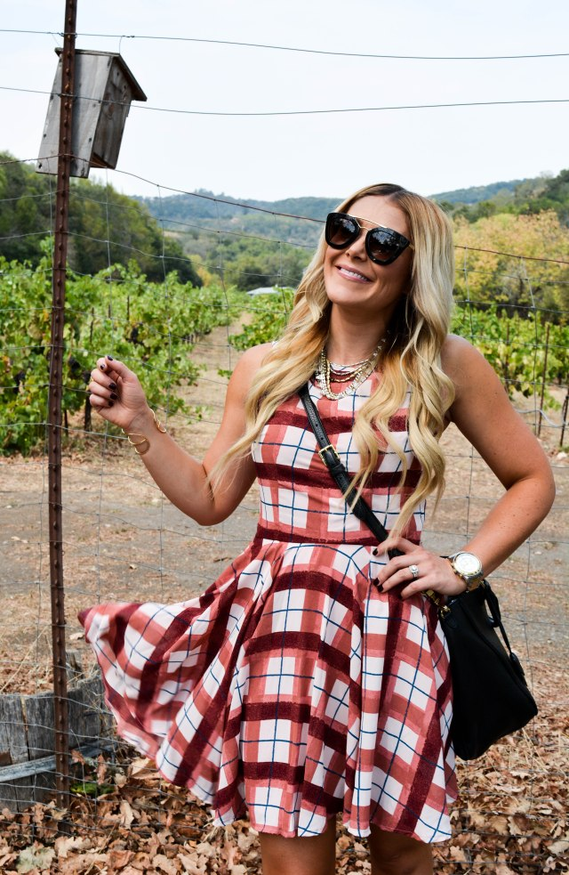 plaid dress, fall fashion, maison jules, booties